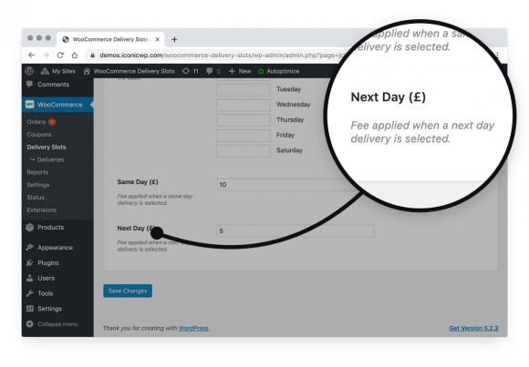 Charge additional fees for same and next day deliveries in WooCommerce