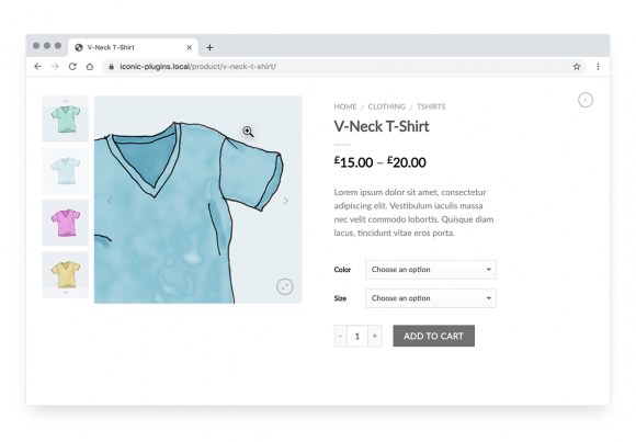 Image shows inner zoom hover effect within the WooCommerce product image gallery