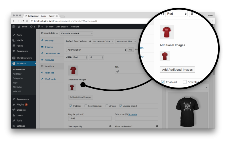 9e470e221aad8 WooCommerce only allows you to add a single image to your product  variations; WooThumbs let's you add any number of additional variation  images.