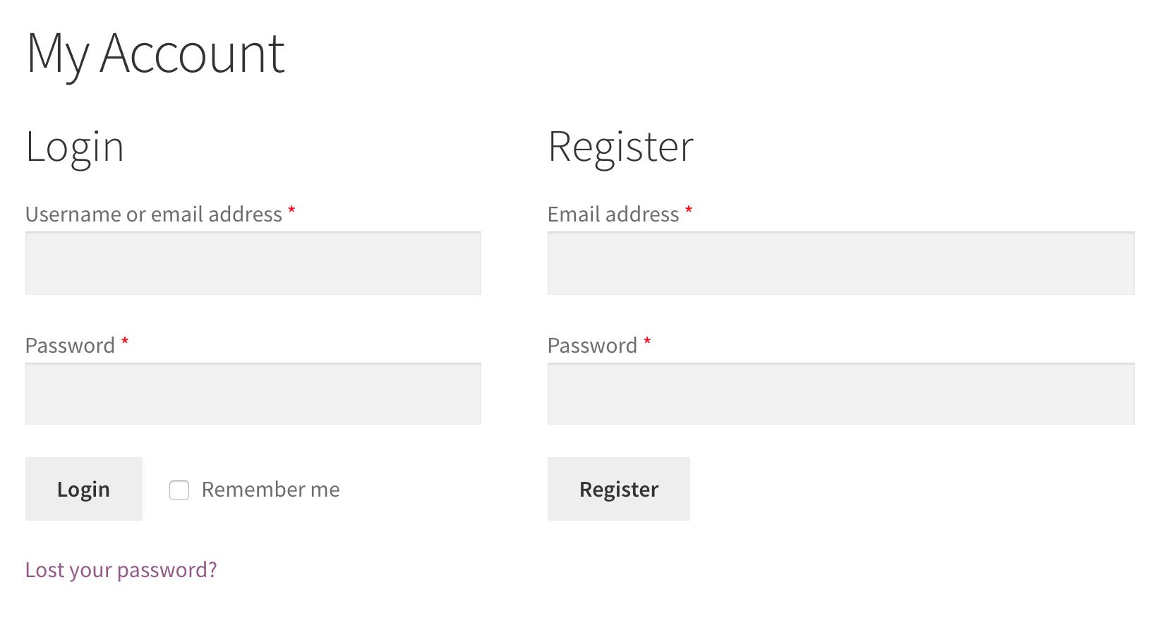 WooCommerce registration fields basic