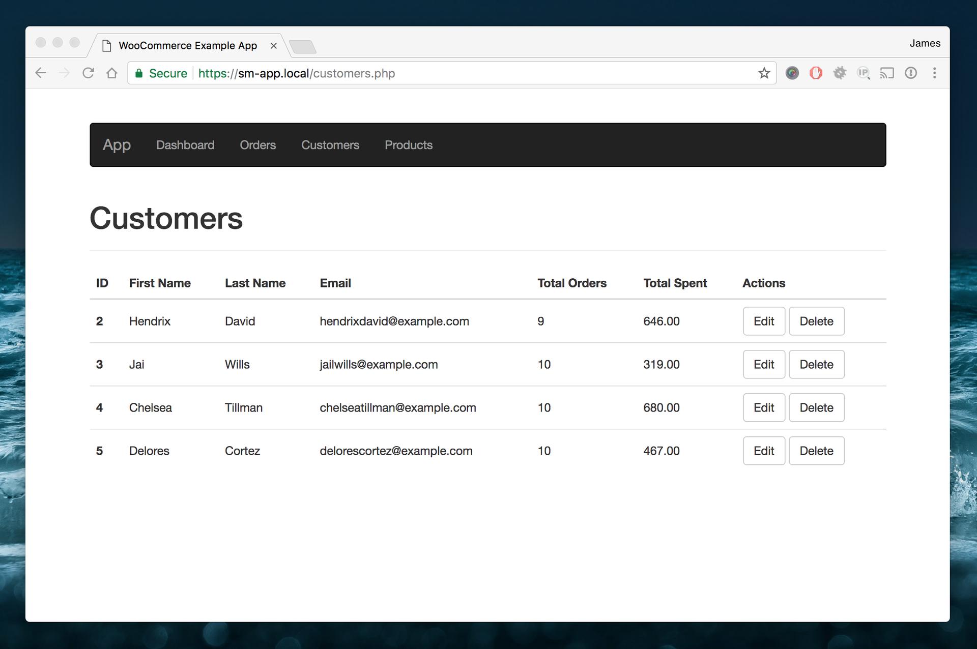 List all customers via the WooCommerce API