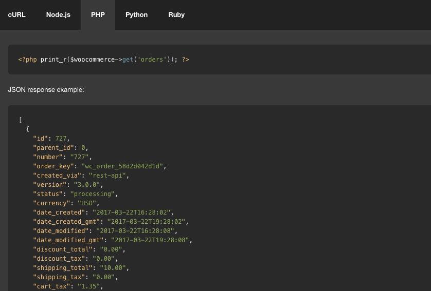 WooCommerce API docs