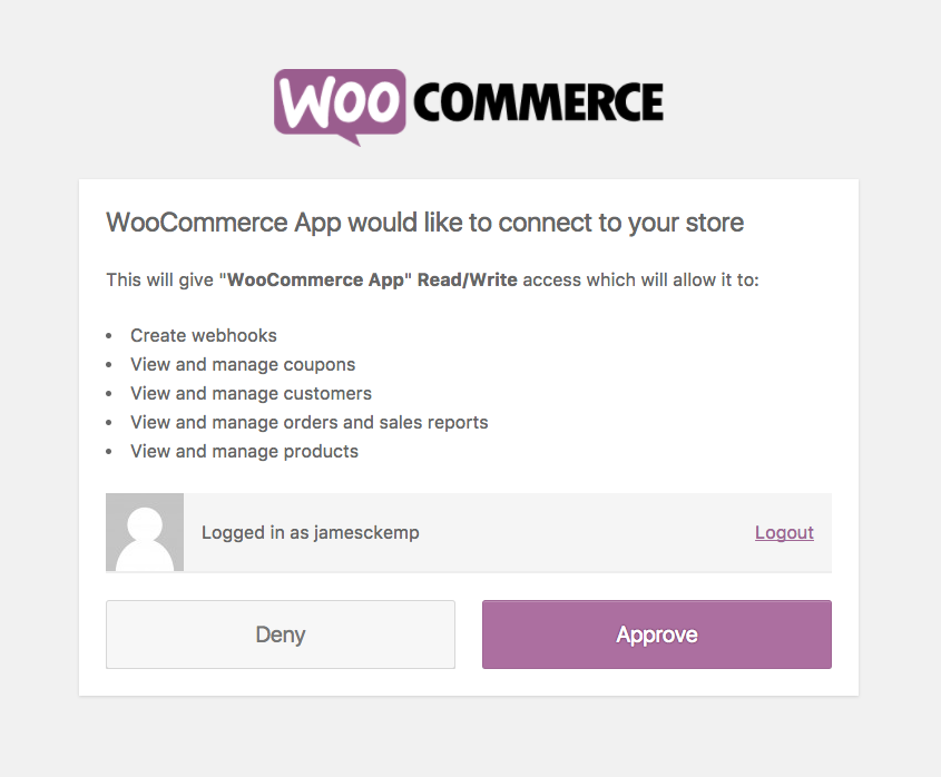 WooCommerce API authentication