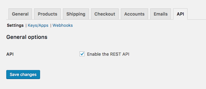 WooCommerce enable API