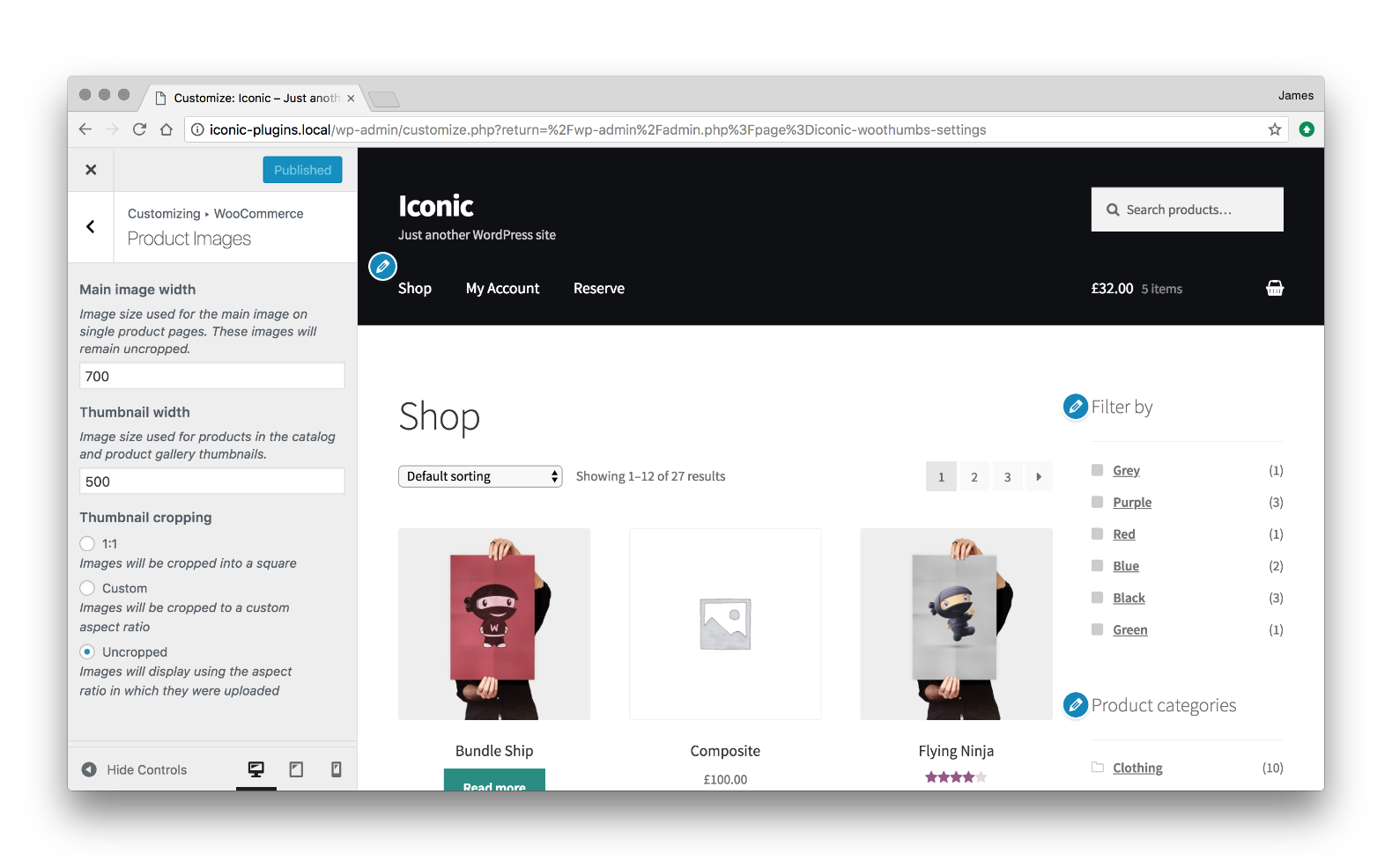 WooCommerce product image size settings