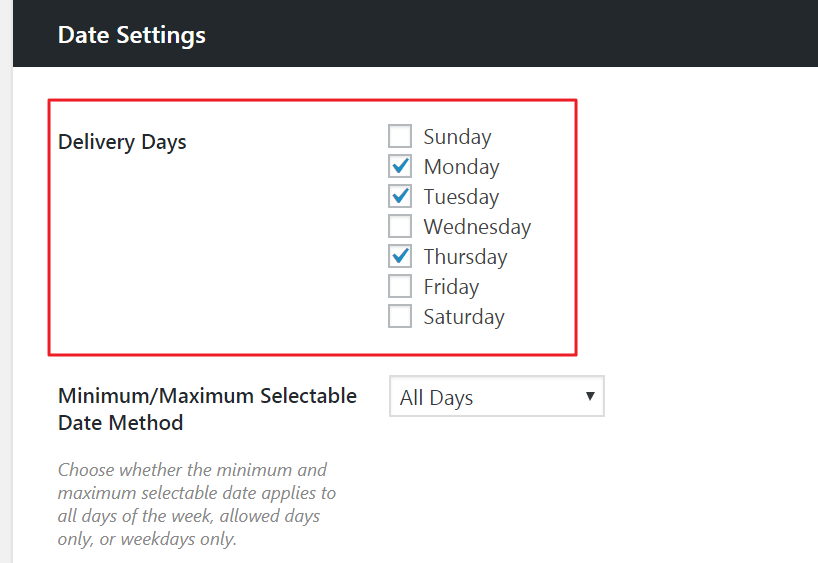 date settings delivery slots