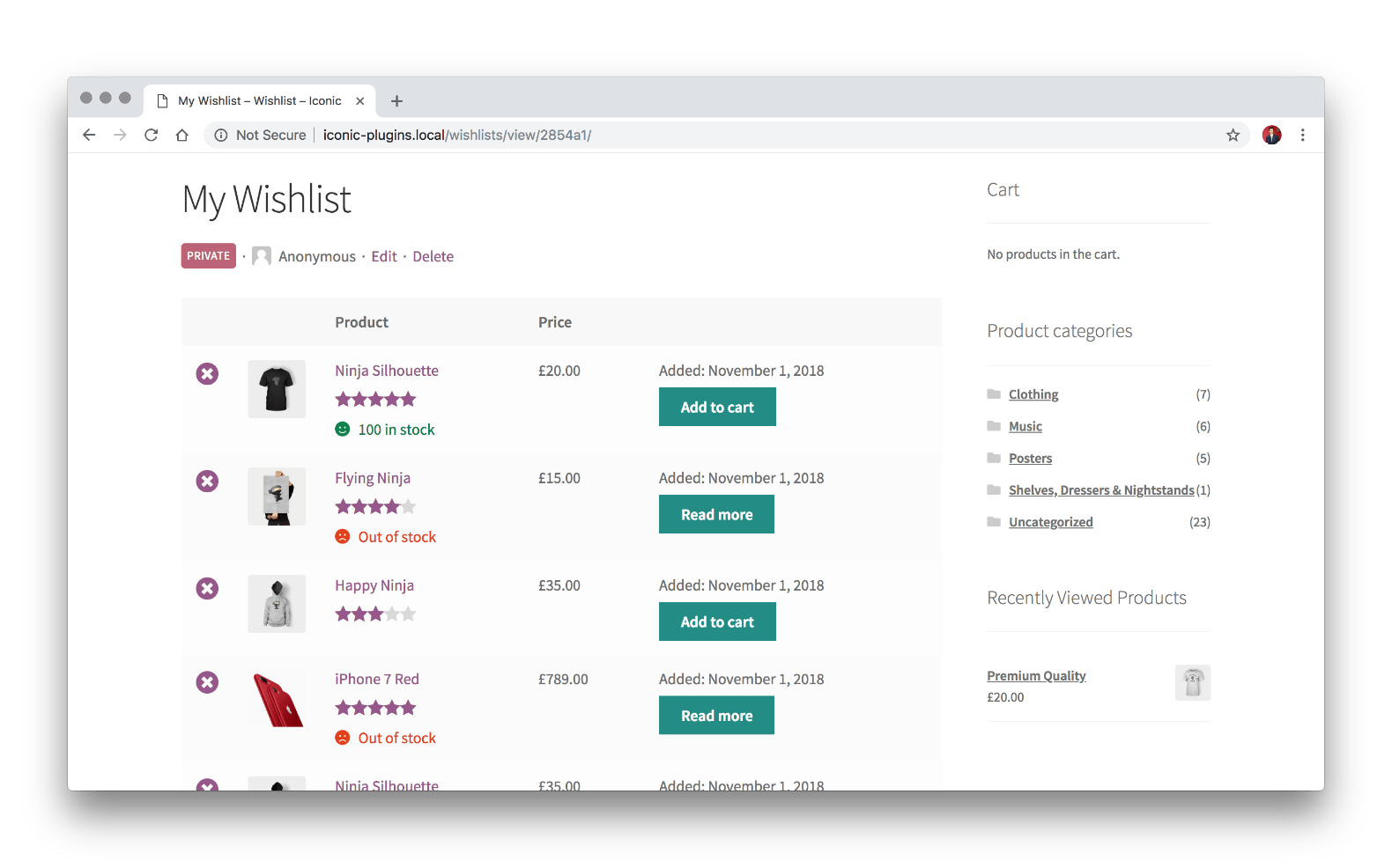 View Wishlist in WooCommerce