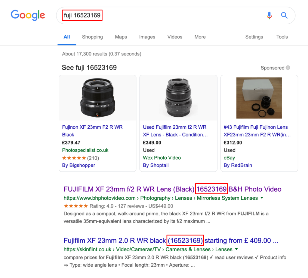 Product SKU in Google search results