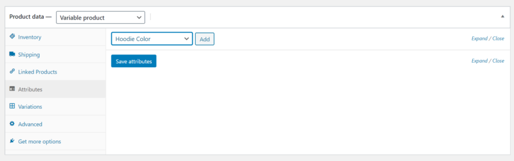 Select attribute from product data