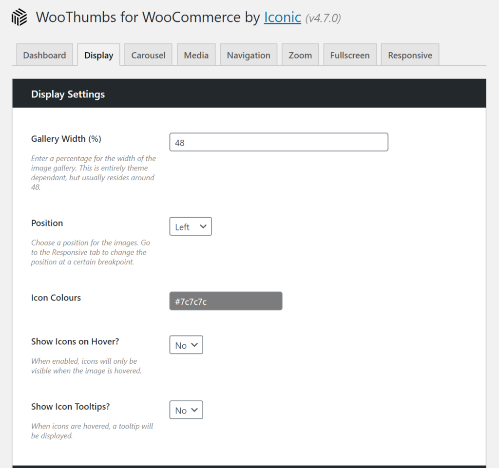 WooThumbs display settings