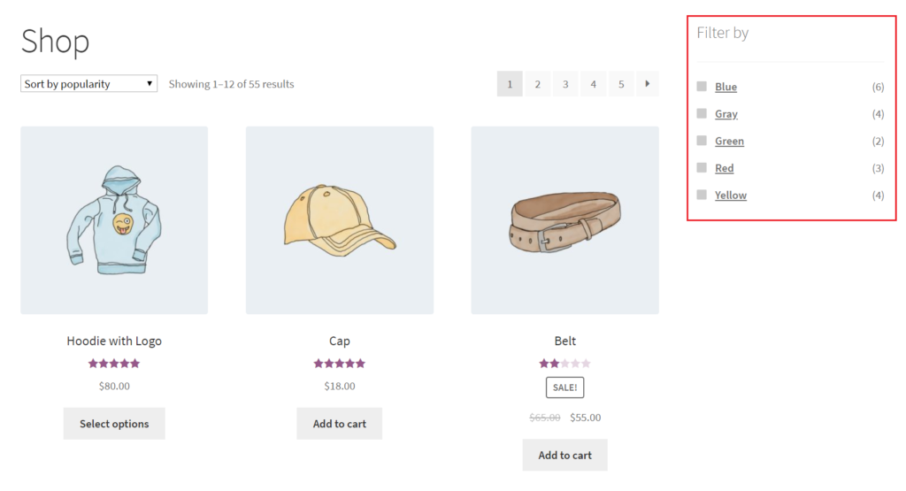 Product count in layered navigation