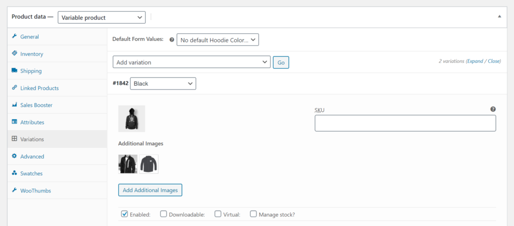Multiple images per product variation in WooCommerce