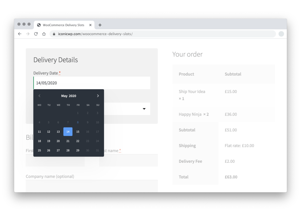 woocommerce delivery date select