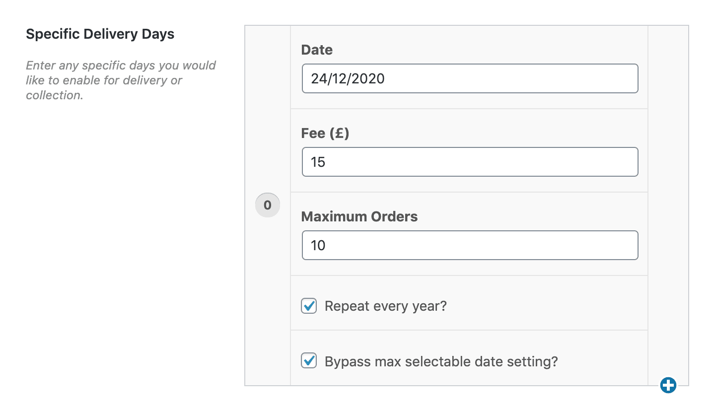 WooCommerce specific delivery days settings field.