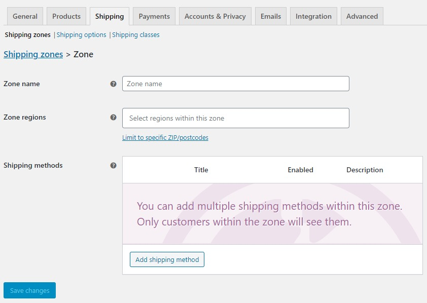 shipping zone page