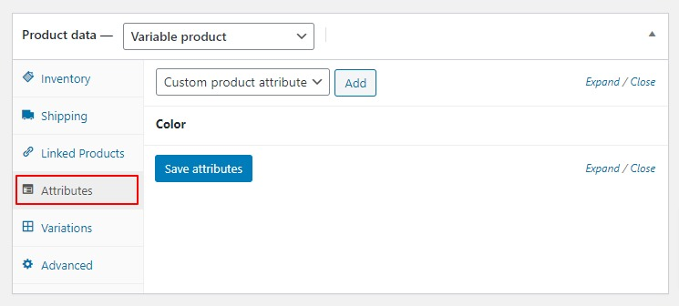 woocommerce attribute tab