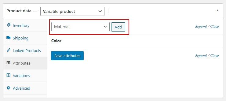 Custom product attribute