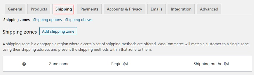shipping tab woocommerce