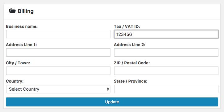 enter tax billing info