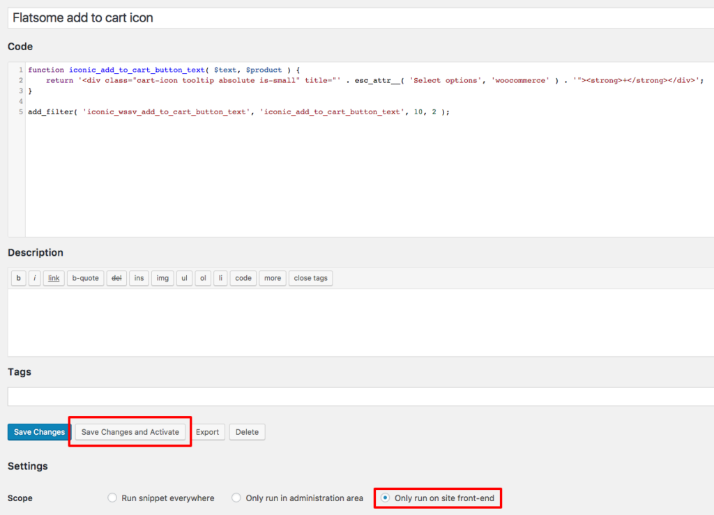 example of code snippets plugin