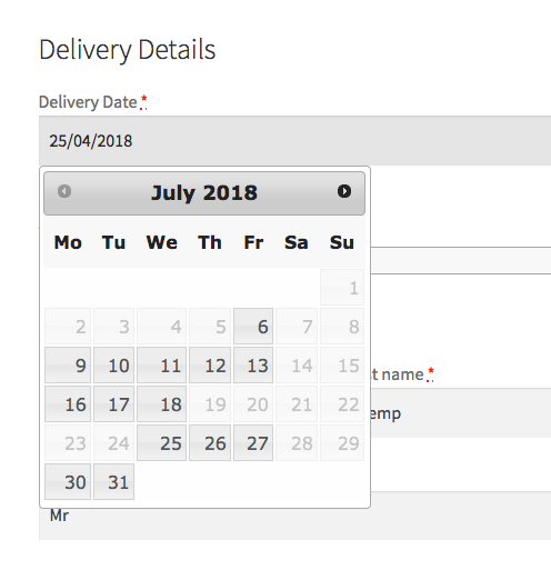 Example of delivery dates