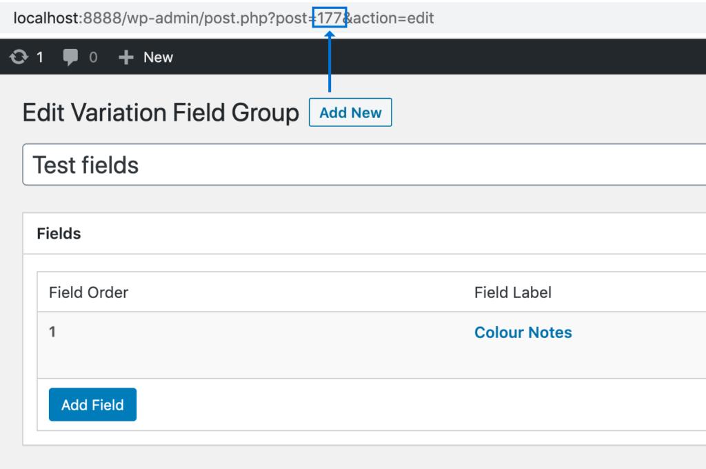 Edit Variation Field Group
