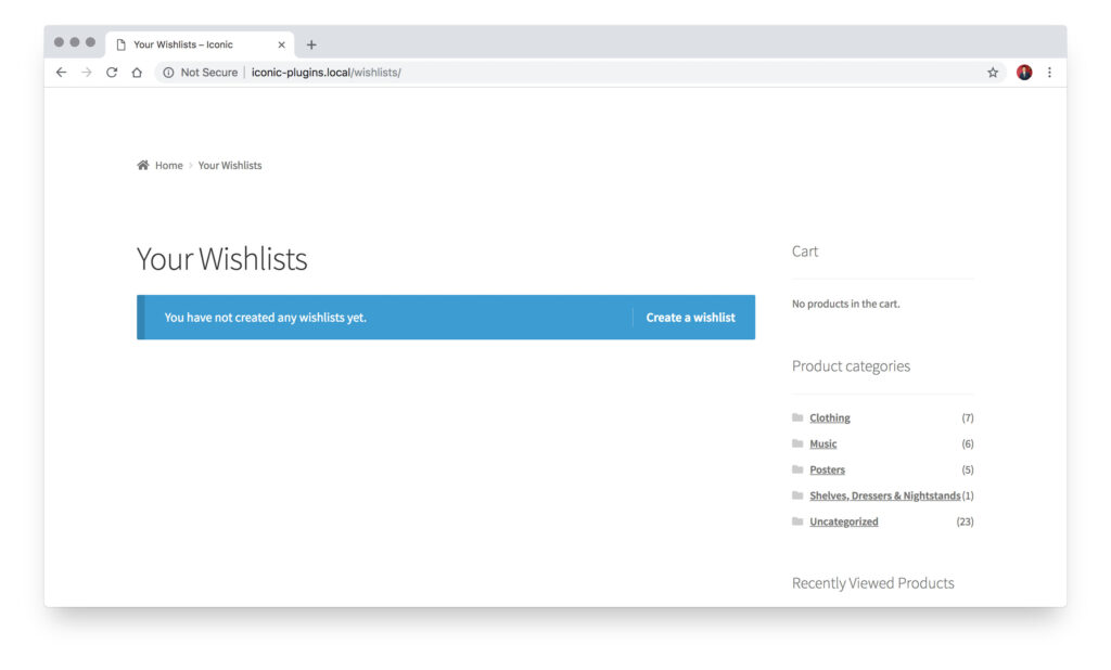 frontend example of wishlists page