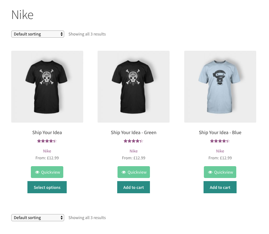 shop example with multiple products with brands