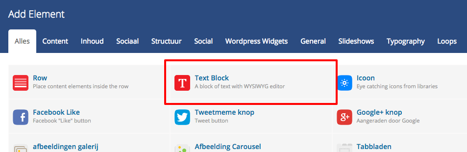 text block element