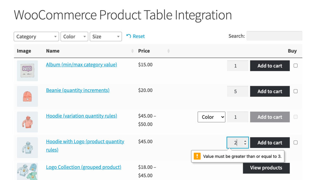 woocommerce product table quantity