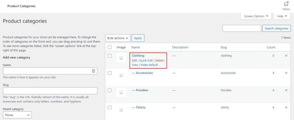 edit category