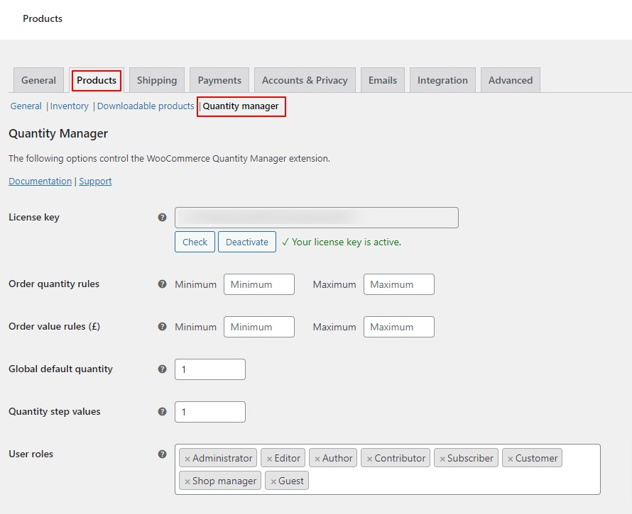 quantity manager settings tab