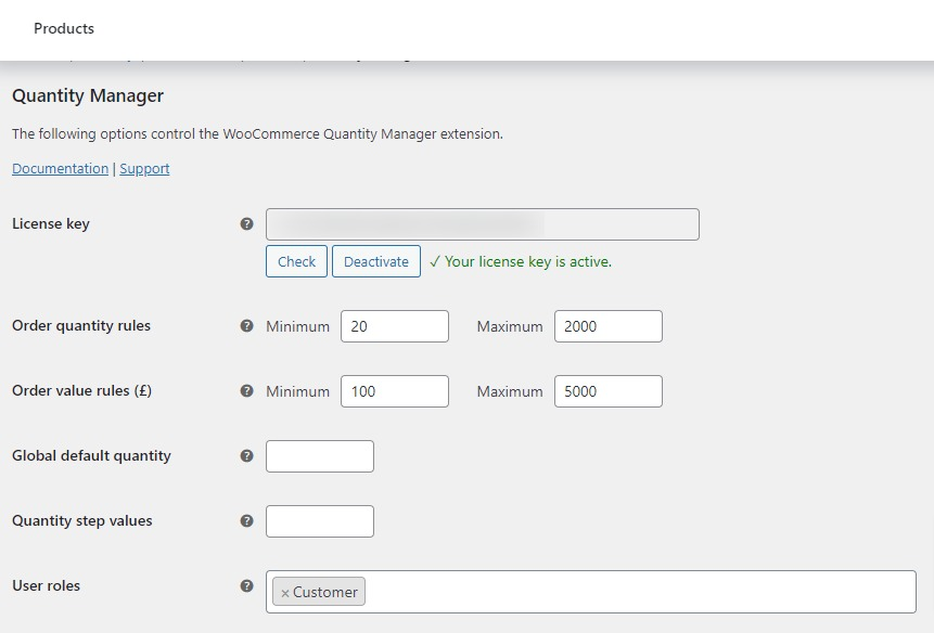 quantity manager settings