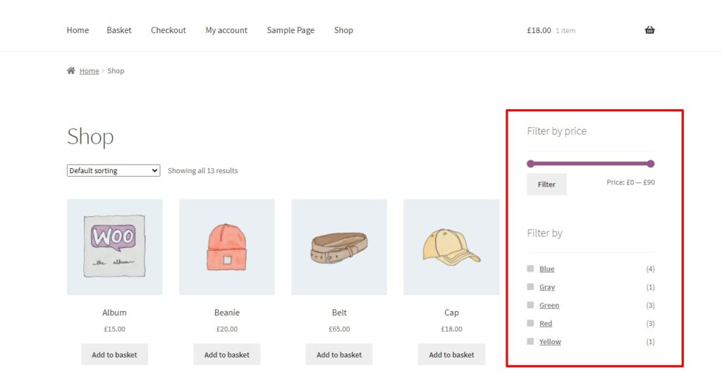 product filters added