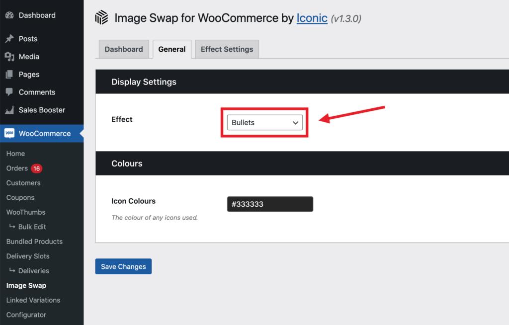 The image swap effect dropdown
