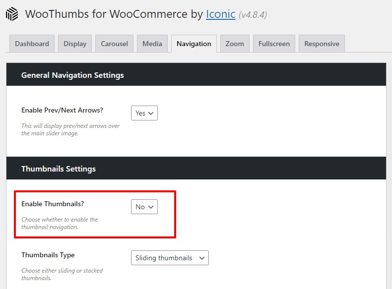 hide thumbnails woocommerce