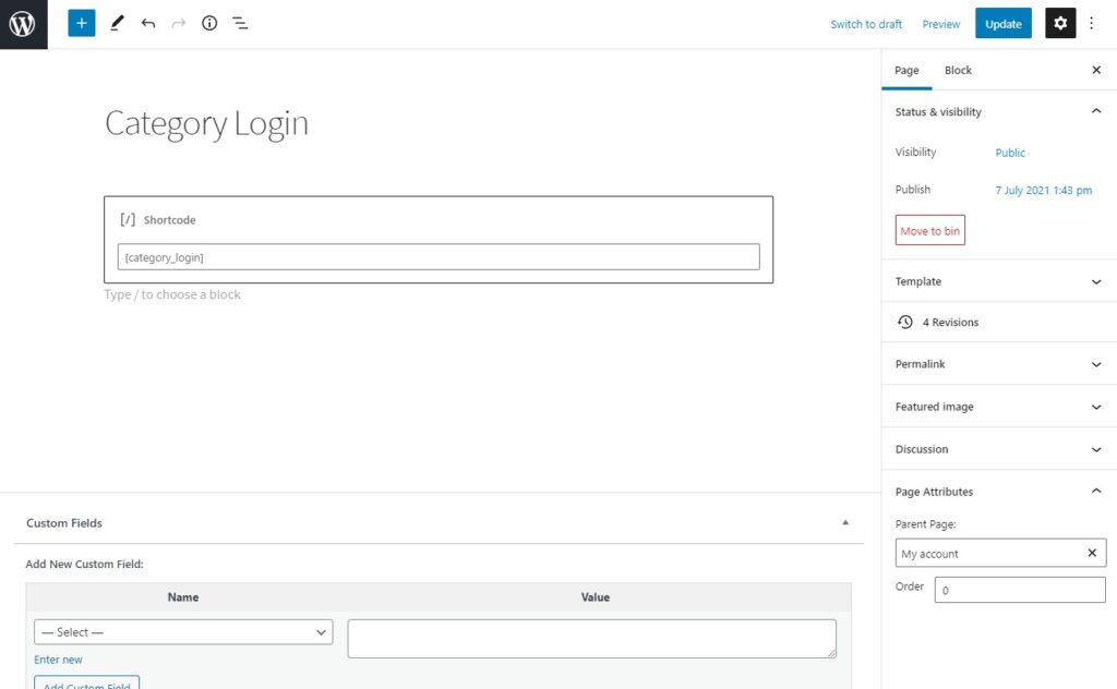 category login shortcode