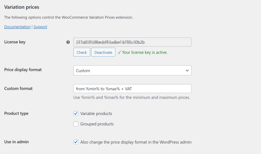 WooCommerce Variation Prices settings